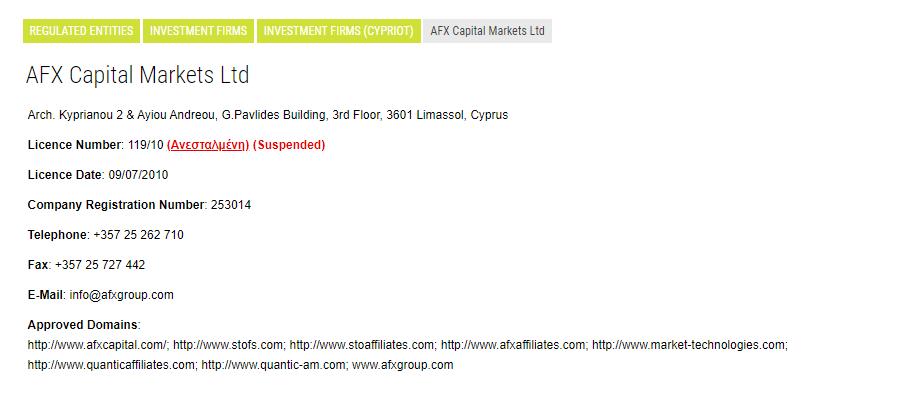 AFX Capital Markets CySEC Entry